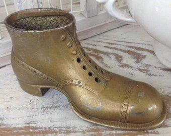 100 year old Antique Victorian Man's Metal Shoe~Pin Cushion or Match Holder~Rare & Wonderful !