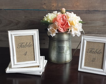 Rustic Burlap Frames- Wedding Shabby Chic Table Numbers