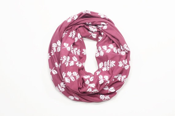 INFINITY SCARF - Screen Printed - White Bluebonnets on Mauve