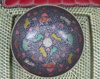 Vintage Brass Colorful Elephant Bowl  - Cloisonne Candy Dish