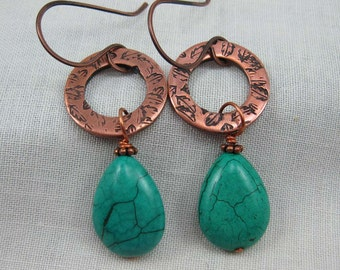 Green Turquoise Copper Earrings