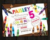 Crayon Invitation -- Kids Crayon, craft party -- Printable Birthday Invitation -- Any Color