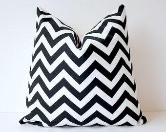 "Zig Zag Decorative Designer Pillow 18"" Black and White Chevron stripes Cushion Cover . Geometric Modern missoni style hollywood regency"