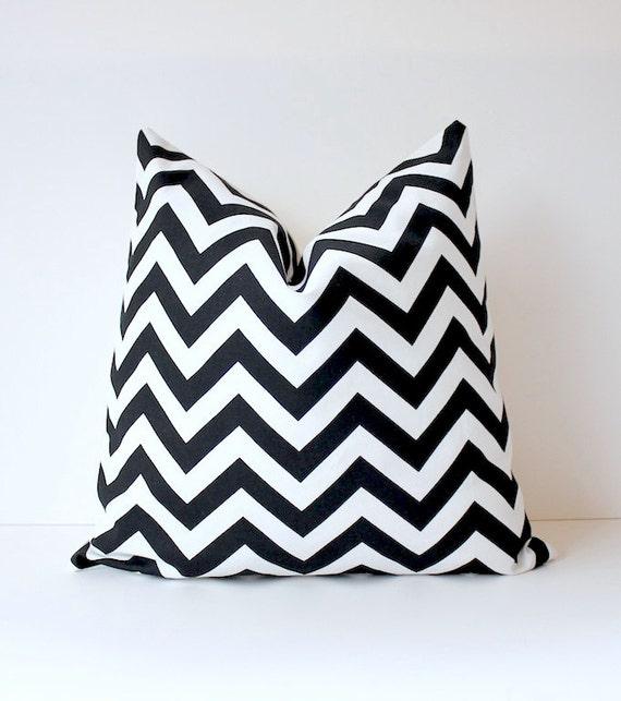 Zig Zag Decorative Designer Pillow Black and White Chevron stripes Cushion Cover . Geometric Modern hollywood regency
