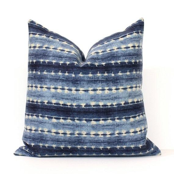 Indigo Shibori Stripe Decorative Designer Pillow Cover