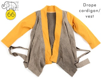 Drape cardigan or vest with belt // sewing pattern pdf download // Preemie to 6T // #66