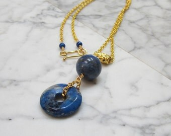 Natural Lapis Lazuli OOAK Brow, Third Eye Chakra Healing Pendant with Gold Vermeil Chain