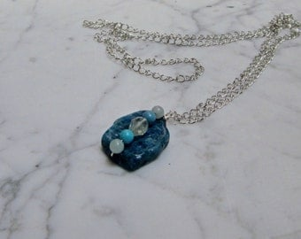 Apatite, Aquamarine, Amazonite and Turquoise Natural Stone and Crystal OOAK Chakra Pendant with Silver Chain