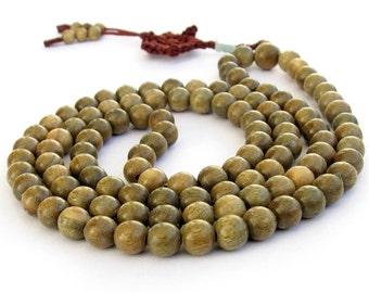 Stetchy Tibetan Buddhist 108 Green Sandalwood Wood Prayer Beads Mala Necklace 8mm T0301