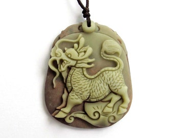 Chinese Happy Dragon Kylin Qilin Amulet Pendant Two Layer Natural Stone 43mm x 35mm  ZP023