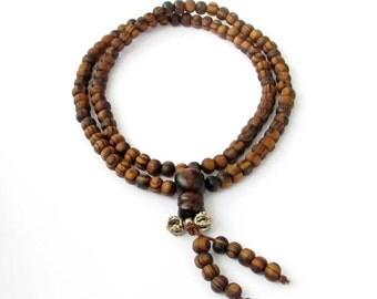 108 6mm Pine Wood Tibetan Buddhist Prayer Beads Rosary Japa Mala  ZZ316