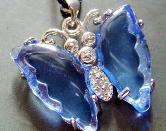 Imitation Blue Crystal Quartz Metal Butterfly Pendant Bead 28mm x 24mm  S114