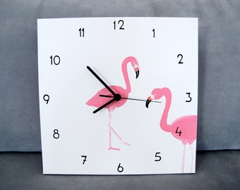 Wall clock- black and white pink flamingo clock,  square canvas, unique kitchen clock, wedding gift, hostess gift