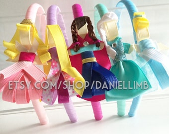 6 disney inspired princess clips plus 6 headbands