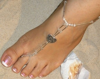Barefoot Sandals-Beach Wedding-Barefoot Sandal Wedding-Bridal Barefoot Sandals-Beach Wedding Sandal-Heart Sandal The Darla HF34