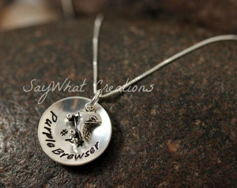 Personalized Hand Stamped Sterling Silver Roller Skate Charm Necklace