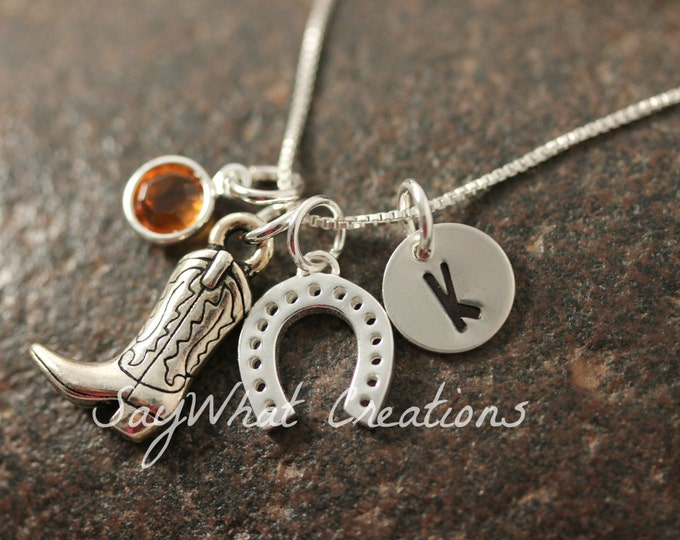 Sterling Silver Equestrian Necklace with Cowgirl/Cowboy Boot, Horse Shoe, Birthstone, and Hand Stamped Initial Disk
