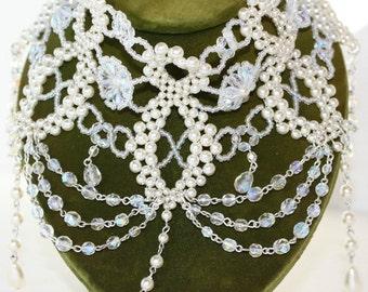 Art Neuavo Inspiried Pearl & Crystal Beaded Choker Necklace Boho Collar