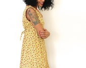 Ladybug Vintage Dress Yellow and Red V Neck Womens Shift Dress Lady Bug Day Dress Medium