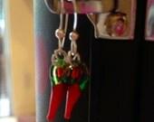 Glass Chili Pepper Dangle Earrings small
