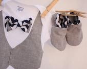 bow tie shirt, Baby boy shirt, Baby boy photo prop, Blue and gray baby boy shirt