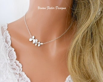 Bridesmaid Gift Orchid Necklace Sideways Sterling Silver Bridesmaid Jewelry SALE