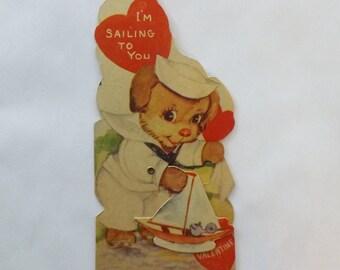 Vintage Valentine card mechanical sailor dog sailing toy boat ephemera