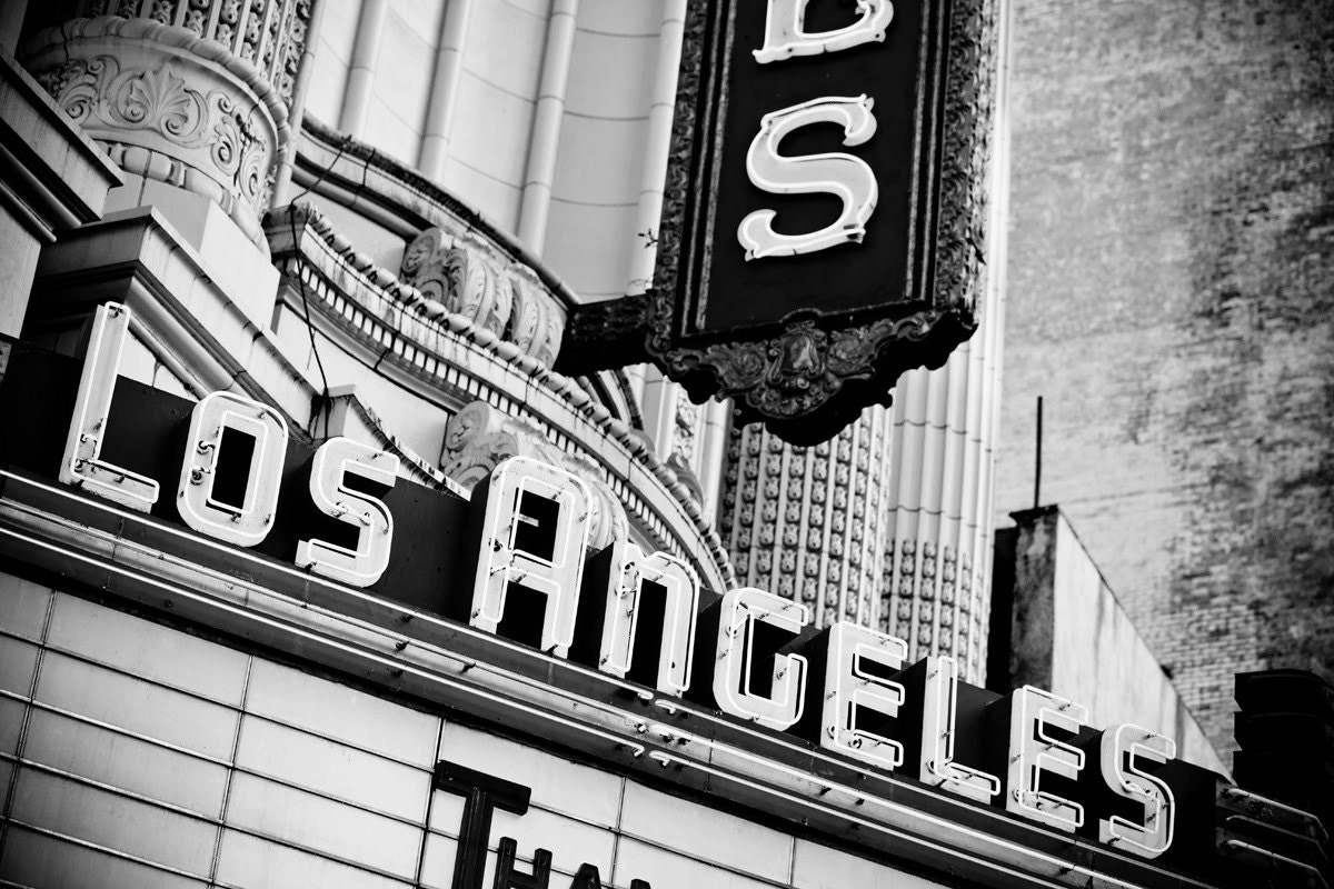 Los Angeles Theater Marquee Sign Neon Sign Retro Home Decor Los Angeles Art