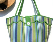 Blue Cabana Striped Beach Bag - Retro Beach Bag - Vintage-Inspired - Blue - Green