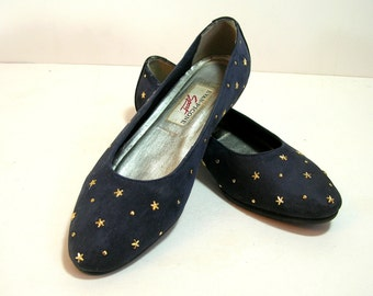 Vintage Evan-Picone Blue Suede Shoes With Gold Stars