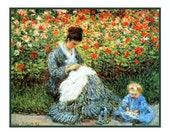 Impressionist Artist Claude Monet's Wife Camille and Son Jean in the Garden Counted Cross Stitch Chart
