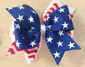 Patriotic hair bow