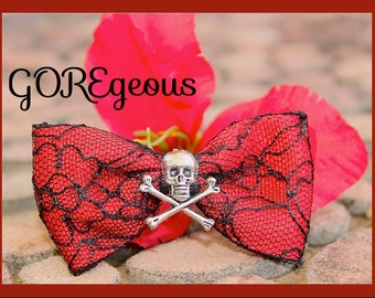 Skull Lace Hair Bow ,Blood Glam Red  n Lace Skull  Hair Bow, Gothic, Scene, Hispter, Handmade By: Tranquilityy
