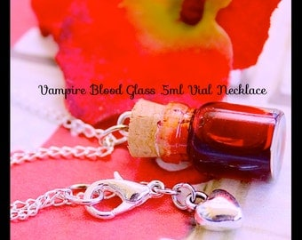 Vampire Blood Necklace ,Vampire Treat Necklace ,  Realistic Blood Glass .5ml vial Bottle necklace With Chain By: Tranquilityy