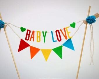 Baby Shower Cake Banner, Baby Shower Cake Garland, Custom Cake Banner, Baby Girl Cake Banner, Baby Cake Banner:  Rainbow
