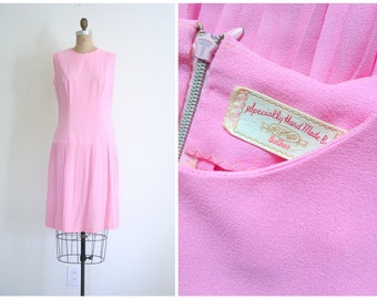 1960s pastel drop waist dress - vintage 60s mod / Bubblegum Pink - pleated school girl skirt / Valentine's Day - lolita - Sweet Kawaii