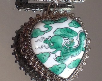 Chinese Export Jewelry Mother of Dragons Antique Heart Brooch Rare Beauty