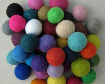 Loose Rainbow of Felt Balls 42 balls -1 of each of the 42 colors 1, 1.5, 2, 3 or 4cm size - FREE US shipping