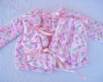 Tiny Tulips Layette Set with Pink Ribbon