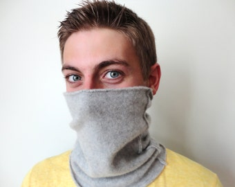 Cashmere Neckwarmer Neck Gaiter LIGHT GREY / GRAY Cashmere Cowl Neck Warmer Upcycled Sweater Unisex Gift for Men or Women by WormeWoole