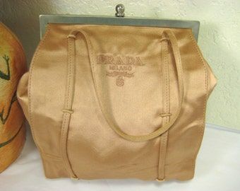 Vintage Prada Peach Cloth Satin Framed Handbag Small  Italy