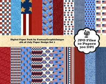 4th July Digital Paper Pack Set 1 - Flags - Red White Blue with Linen Denim Glitter - 16 Papers - Scrapbooking - Instant Download