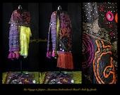 Gypsy Shawl/Bohemian Shawl/Art To Wear Shawl/Embroidered Shawl/One Of A Kind Shawl/Gypsy Stole/Boho Stole/Wearable Art Stole/Ethnic Shawl