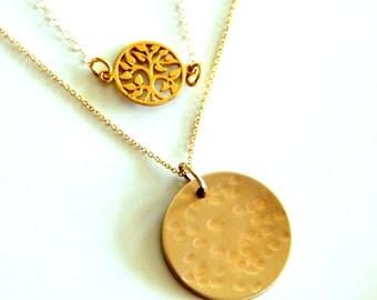Customized Gold Circle Necklace // Tree Of Life Necklace // Gold Layered NECKLACE // Gold Disc hammered Necklace // YOGA // Namaste Delicate