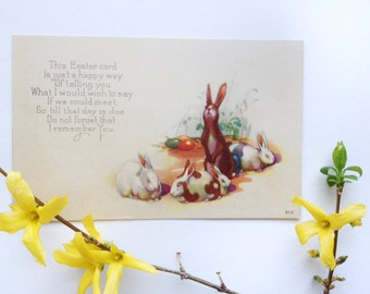"Antique Easter postcard, bunny rabbits and eggs, ""I remember you,"" vintage 1910s Easter decoration, arts and crafts movement, art nouveau"