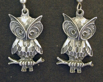 Sterling Silver Flying Owl Earrings on Sterling Silver French Wires