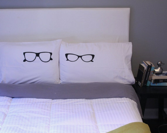 His and Hers Pillows, Cool Pillow Cases, Glasses Pillow, Unique Pillow Case Set, Love Pillow Cases