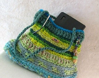 Rag bag - crochet upcycled Shoulder bag . blue green bag with wooden button  - tagt team - happy recycling :-)