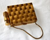 SALE!!! - Vintage 1940s Gold Tone Cigarette Case with Compact, Mirror and Lipstick Case