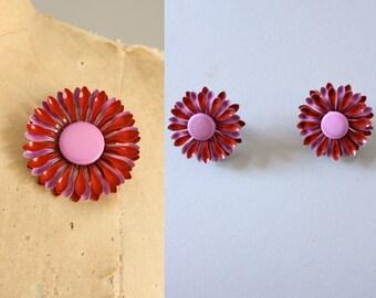 Vintage 60s Brooch/ 1960s Enamel Brooch/ Pink, Purple, Red Floral Enamel Brooch w/ Matching Earrings